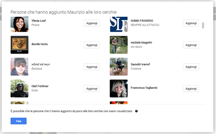 I follower di Google+
