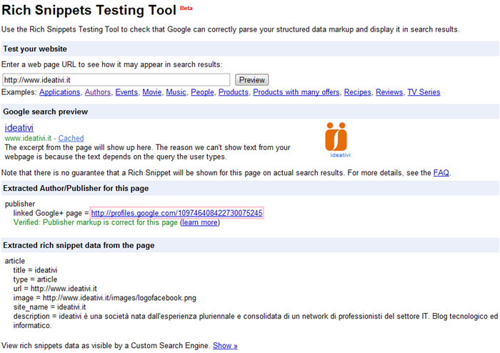 Rich Snippets Testing Tools per Google+ Badge