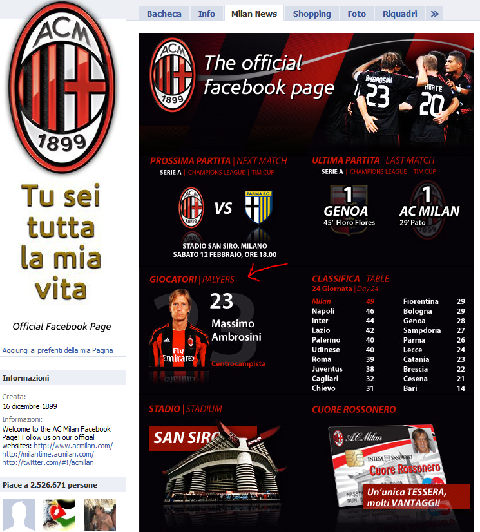 Fail del Milan su Facebook
