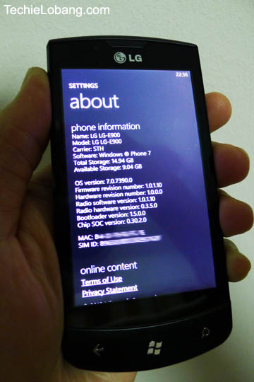 Windows Phone 7 Mac Address