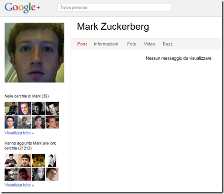 MArk Zuckerberg su Google+ (Plus)