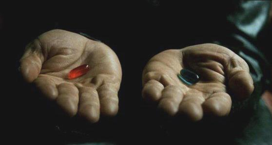 Matrix pills blue and red